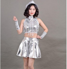 Silver women's female lady modern dance jazz singers hiphop performance sequined night club pole dancing outfits costumes