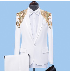 Singer Jazz dance blazer for men white with gold embroidery pattern male competition stage performance dj host party dancing coats and pants