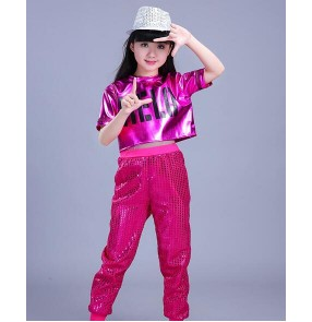 Street dance outfits for boys girls children gold red silver modern dance performance sequined cosplay costumes outfits