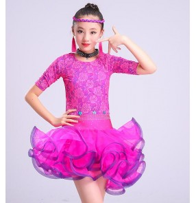 Turquoise blue fuchsia lace girl's kids children stones competition stage performance latin salsa cha cha dance dresses costumes