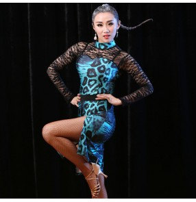 Turquoise blue leopard printed lace long sleeves see though competition stage performance women's female salsa cha cha rumba latin dresses
