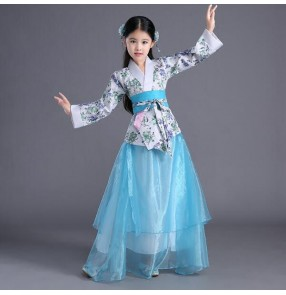Turquoise floral patchwork fashion girl's children Chinese folk ancient classical han princess fairy performance drama film cosplay dresses costumes
