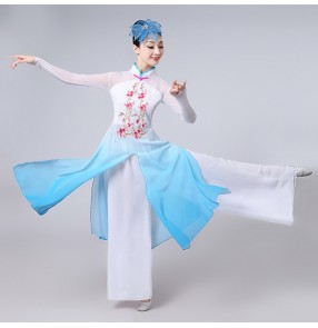 Turquoise fuchsia green gradient colored women's female stage performance yangko Chinese folk ancient classical fan dance cosplay dresses costumes
