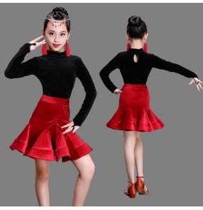 velvet Black leotard tops with red skirts long sleeves girl's kids children competition stage performance latin salsa ballroom dance dresses
