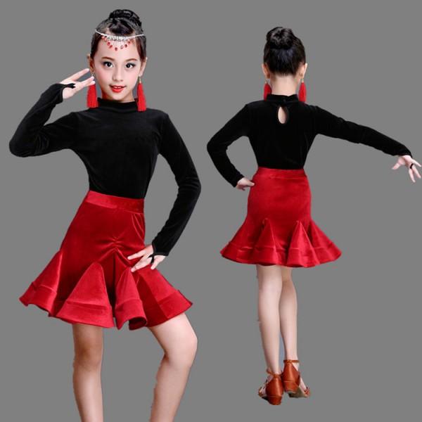 fe4afd16807e velvet Black leotard tops with red skirts long sleeves girl s kids children  ...
