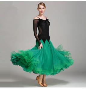 Velvet black orange patchwork long sleeves fashion big skirted women's competition performance ballroom tango waltz dancing dresses