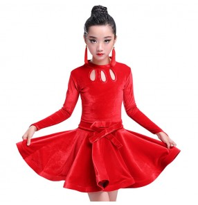 Velvet black red royal blue competition performance professional girl's kids children latin ballroom rumba dance dresses costumes
