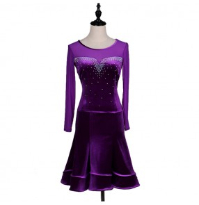 Velvet violet long sleeves rhinestones competition performance women's female professional latin ballroom dance dresses