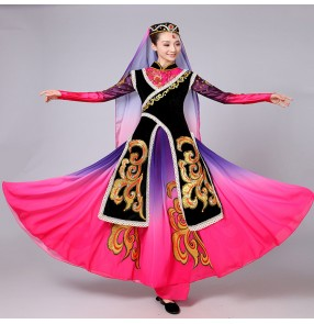 Violet fuchsia gradient colored long sleeves women female uygur ethnic Chinese folk dance movie cosplay costumes dresses