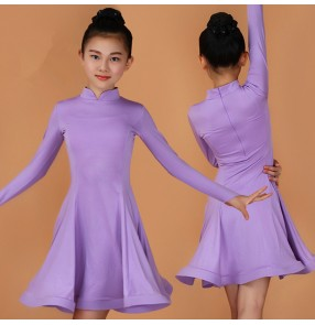 Violet light purple royal blue mint hot pink red black long sleeves girl's gymnastics performance salsa competition ballroom latin dance dresses