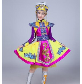 Violet National Mongolian folk dance dresses girls kids children purple yellow stage performance robes costumes