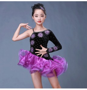 Violet purple velvet patchwork one sleeves rhinestones sexy competition girl's stage performance latin ballroom skating dresses