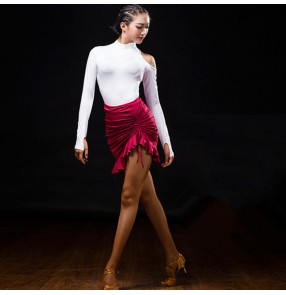 White and wine red dark green one hollow shoulder long sleeves irregular skirts fashion women's female performance competition latin dance dresses