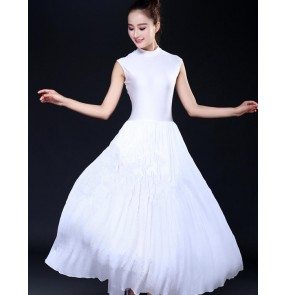 White ballet dance dresses modern dance women's female lady stage performance competition long length ballet dance dresses