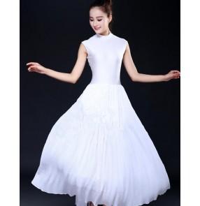 White ballet dance dresses modern dance women's female lady stage performance competition long length ballet dance dresses