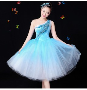 White blue green gradient color girl's women's modern dance singers chorus dancers fairy stage performance dresses costumes