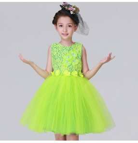 White blue pink yellow green sequin modern kids jazz dance costumes for girls dance costumes child stage costume contemporary dance Dresses