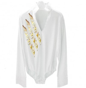 White boy latin shirts kids children performance competition gold totem pattern long sleeves latin ballroom leotards shirts tops