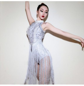 White fringes stones fashion girl's women's female  performance lead dancers night club jazz singers dance bodysuits leotards