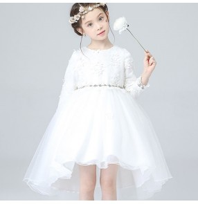 White lace long sleeves tuxedo hem skirts girl's kids children stage performance flower girl's wedding party singers dancing evening dreses