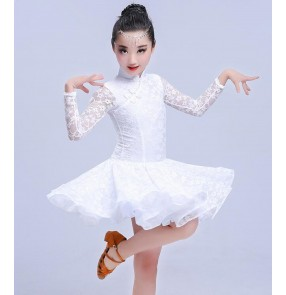 White lace stand collar lace competition professional girl's kids children stage performance ballroom latin salsa dance dreses