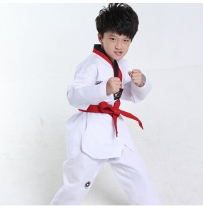 White Long Sleeves Kids Judo Kimono Clothes Children Karate school Competition Performance Costumes Boys Girls Taekwondo uniforms Suits