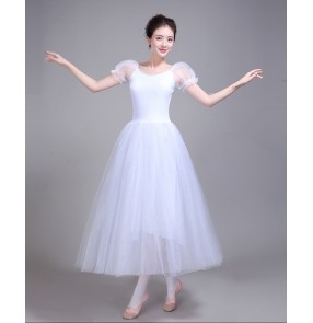 White modern dance ballet dress long length women's female competition white stage performance swan lake  ballet dance dresses
