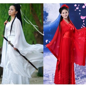 White red light pink women kong fu anime Cosplay fairy costume Hanfu clothing Chinese Traditional ancient dresses dance stage Classic dance costume