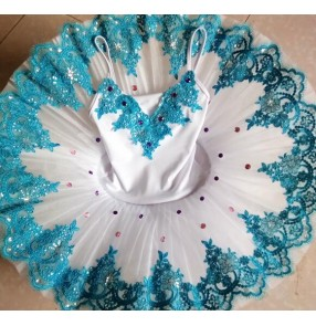White turquoise girls ballet dress competition classical professional stage performance tutu skirt platter pancake swan lake ballet dresses