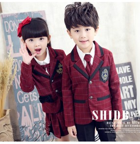 Wine colored plaid girl's boys England style school chorus competition stage performance dance cosplay student school uniforms