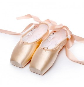 Women ballet pointe dance shoes ladies satin ribbon pink professional competition performance practice toe ballet dance shoes with cotton toe pad