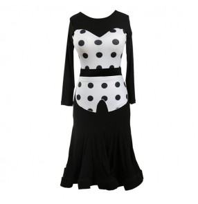 Women exercise latin dance dress wear polka dot lady cha cha rumba dot dress