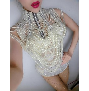 Women Prom Dress Pearl Chains Necklace One Piece luxury Crystal beads Design Wedding Dj Female Singer Dance shoulder cape shawls(only pearl cape)