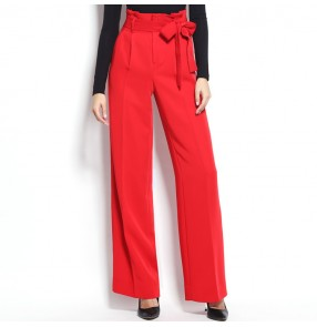 Women's ballroom latin dance pants black red wide leg competition stage performance swing pants trousers