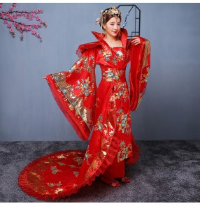 Women's Chinese ancient folk dance dresses anime drama photos fairy princess hanfu queen performance cosplay long trailing dresses robes