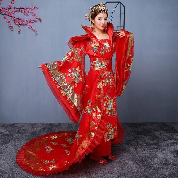 c73de50ad Women's Chinese ancient folk dance dresses anime drama photos fairy  princess hanfu queen performance cosplay long trailing dresses robes