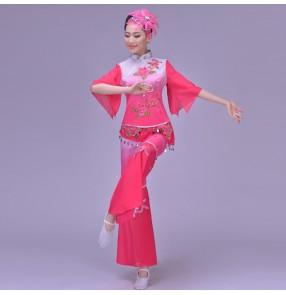Women's Chinese folk dance costumes traditional fuchsia turquoise gradient yangko fan dance celebration cosplay dancing costumes