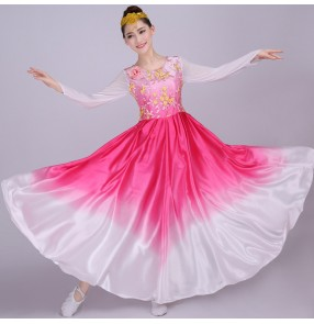 Women's chinese folk yangko dance costumes female fuchsia gradient fairy traditional china classical film cosplay fan team dancing dresses