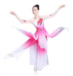 Women's Chinese Yangko folk dance costumes gradient green blue fuchsia petals fan fairy traditional dance dresses