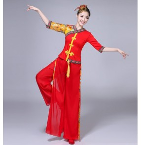 Women's classical yangko Chinese Folk dance costumes red female celebration drummer traditional fan dance dresses