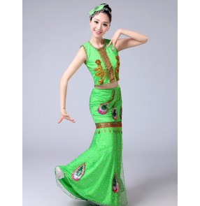 Women's folk peacock dance dresses female competition stage performance belly Hmong dancing mermaid outfits Costumes