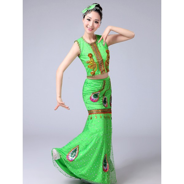 973c8b2d46d6 Women's folk peacock dance dresses female competition stage performance  belly Hmong dancing mermaid outfits Costumes