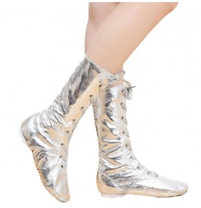 Women's High Jazz Dance Boots silver gold boy girl modern dance singers Stage Dance Boots Girls Women Performance Shoes
