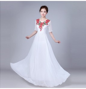 Women's modern dance dresses female lady white red chiffon chorus singers group folk dance stage performance competition long dresses
