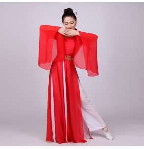 Women's red Chinese folk dance dresses ancient traditional film fairy hanfu kimono anime cosplay performance robes costumes