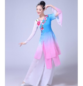 Women's traditional Chinese folk dance dresses classical fuchsia turquoise gradient yangko fan dance cosplay costumes dresses