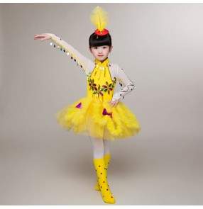 Yellow feather girl's kids children school competition stage animal birds cosplay modern dancers jazz dance dresses costumes