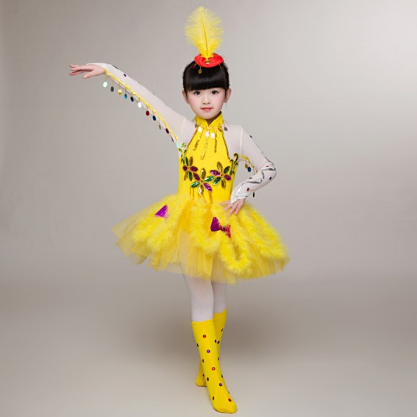 bb9ee02a8 Yellow feather girl's kids children school competition stage animal birds  cosplay modern dancers jazz dance dresses costumes