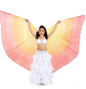 Yellow orange red gradient colored girl's kids children stage performance film cosplay competition belly dance wings props