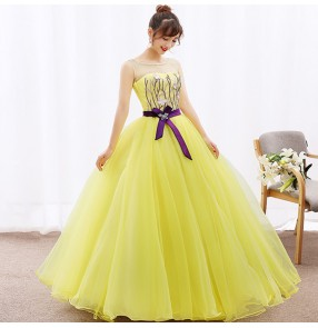 Yellow women's female big skirted stage performance competition modern dance chorus one length dresses costumes